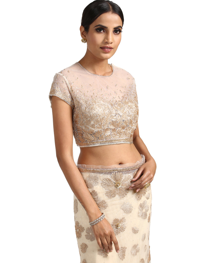 Hand-Embroidered Saree Set- Ivory