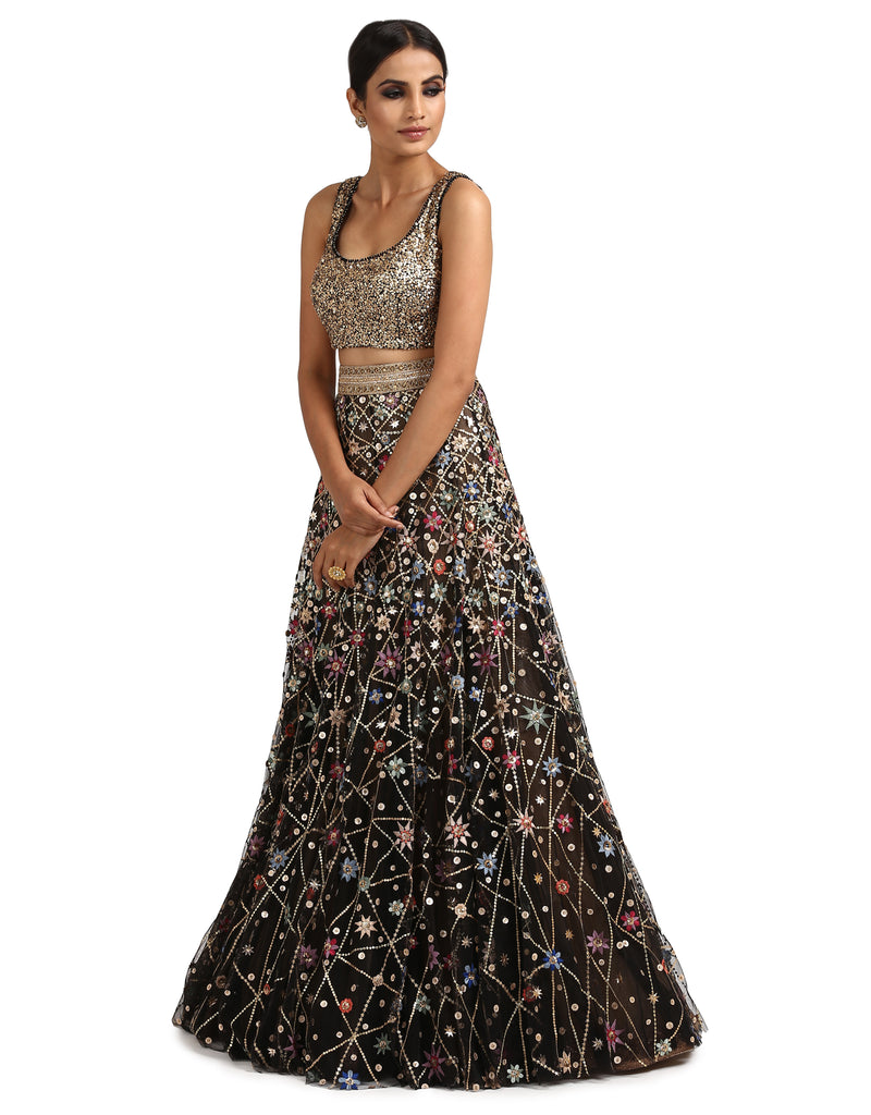 Handcrafted Lehenga with Sequin Blouse- Black