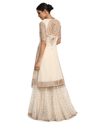 Embroidered Kurta Set with Sharara- Ivory