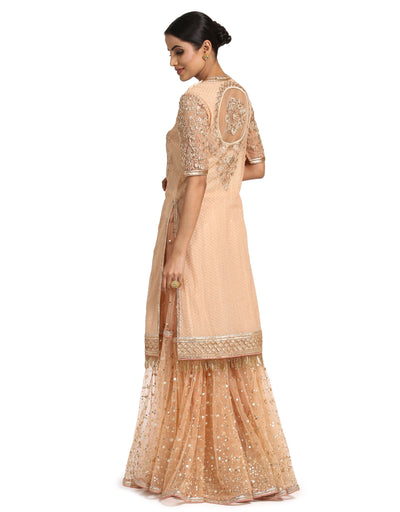 Embroidered Kurta Set with Sharara- Peach