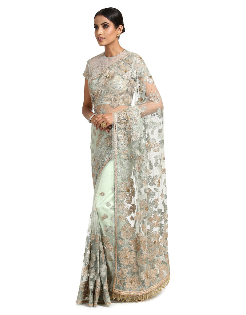 Hand-Embroidered Saree Set- Aqua