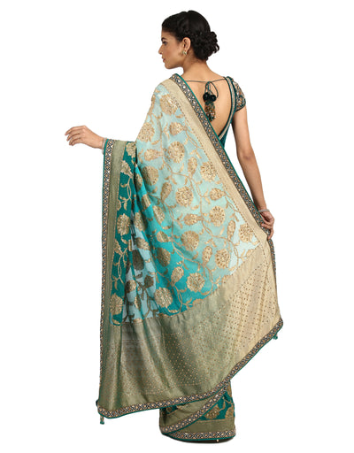 Ombre Brocade Saree- Aqua To Teal