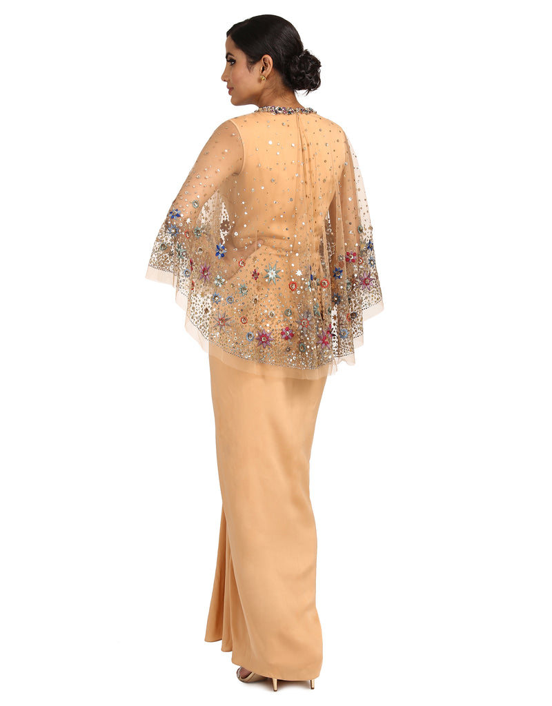 Embellished Cape with Hand Embroidery- Peach
