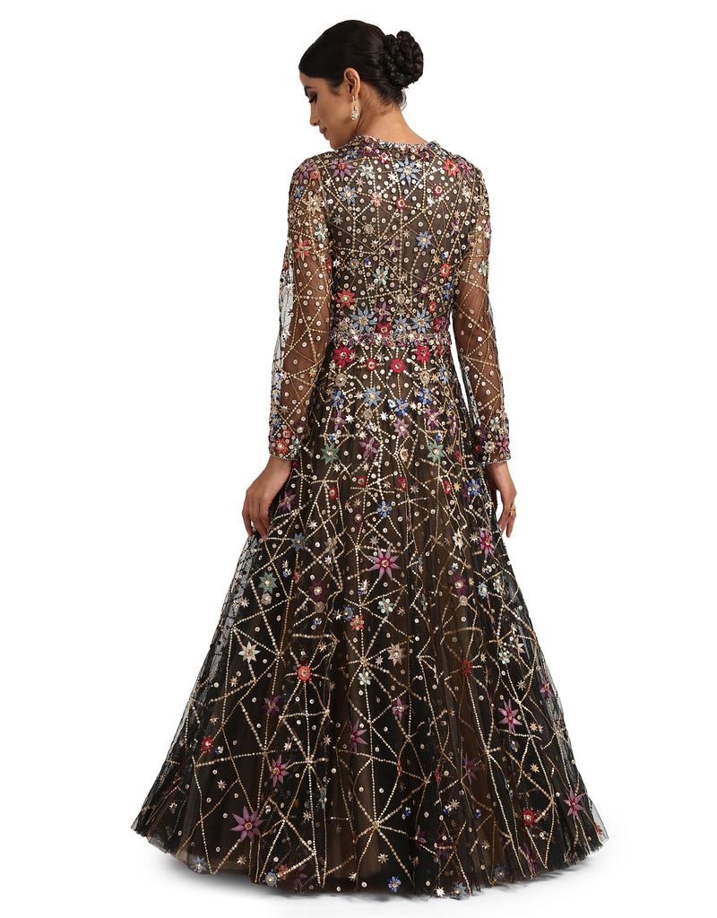 Embellished Ombre Anarkali - Black