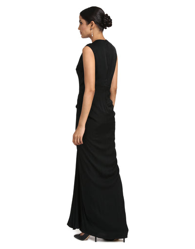 Georgette Drape Dress- Black