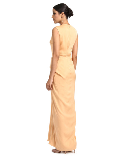 Georgette Drape Dress- Ivory