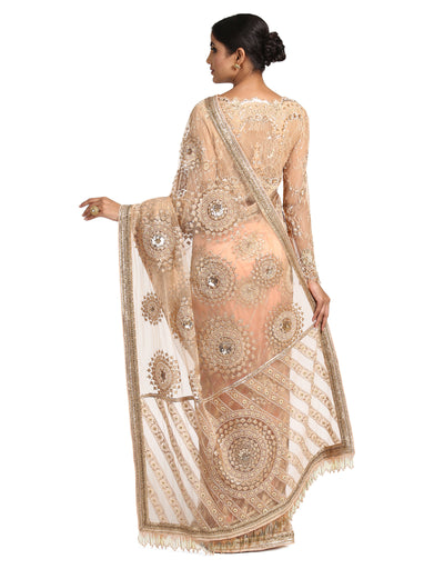 Embroidered Tulle Saree- Peach