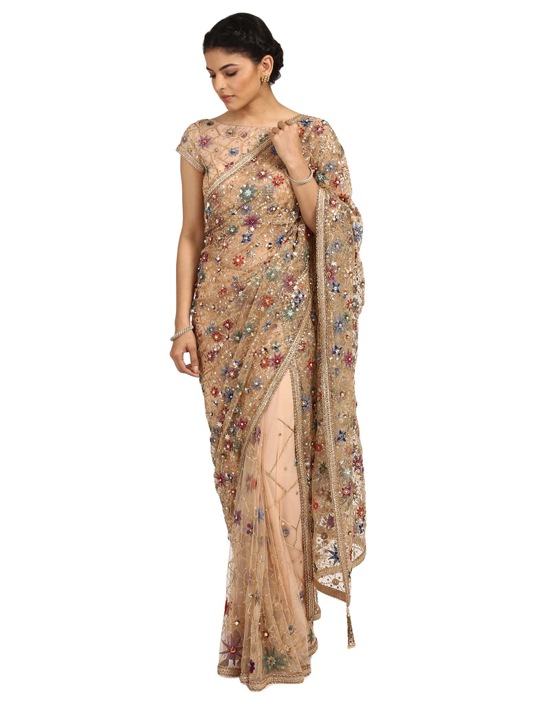 Handcrafted Saree with Blouse- Peach
