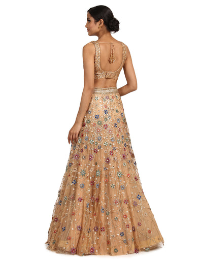 Handcrafted Lehenga with Sequin Blouse- Peach