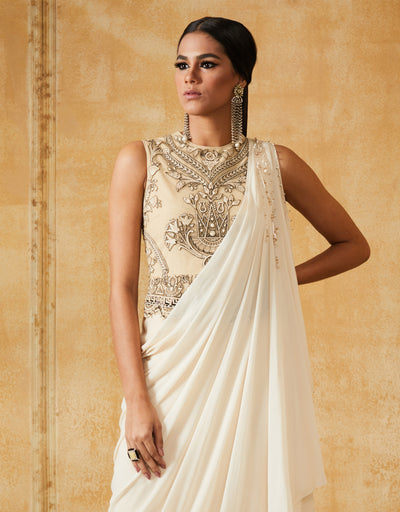 Embroidered Bodice Draped Dress