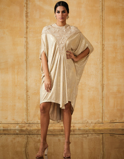 Cowl Draped Metalic Jersey Tunic