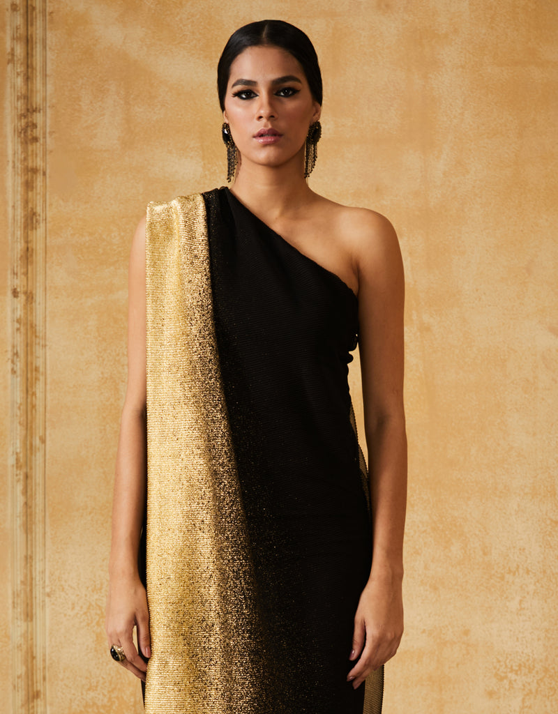 Foil Crinkle Draped Dress