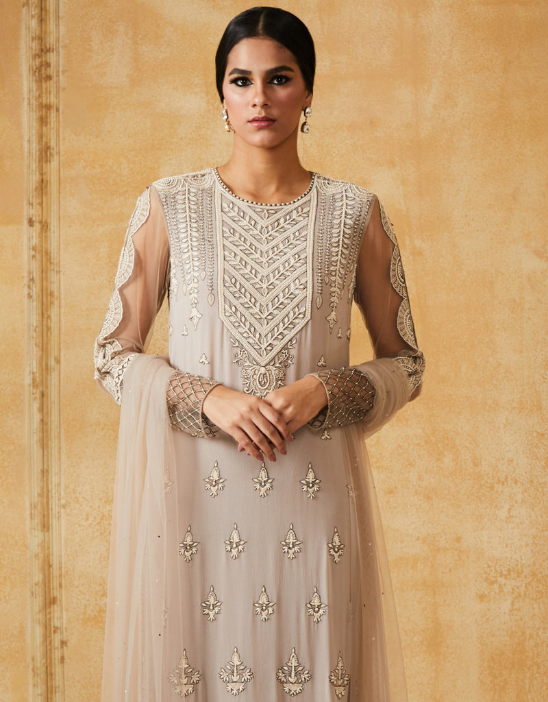 Embroidered Long Kurta With Churidar & Dupatta