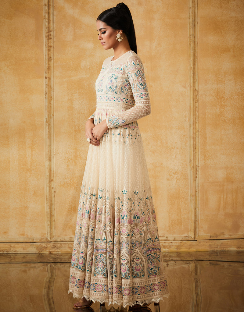 Embroidered Soft Net Anarkali With Scarf