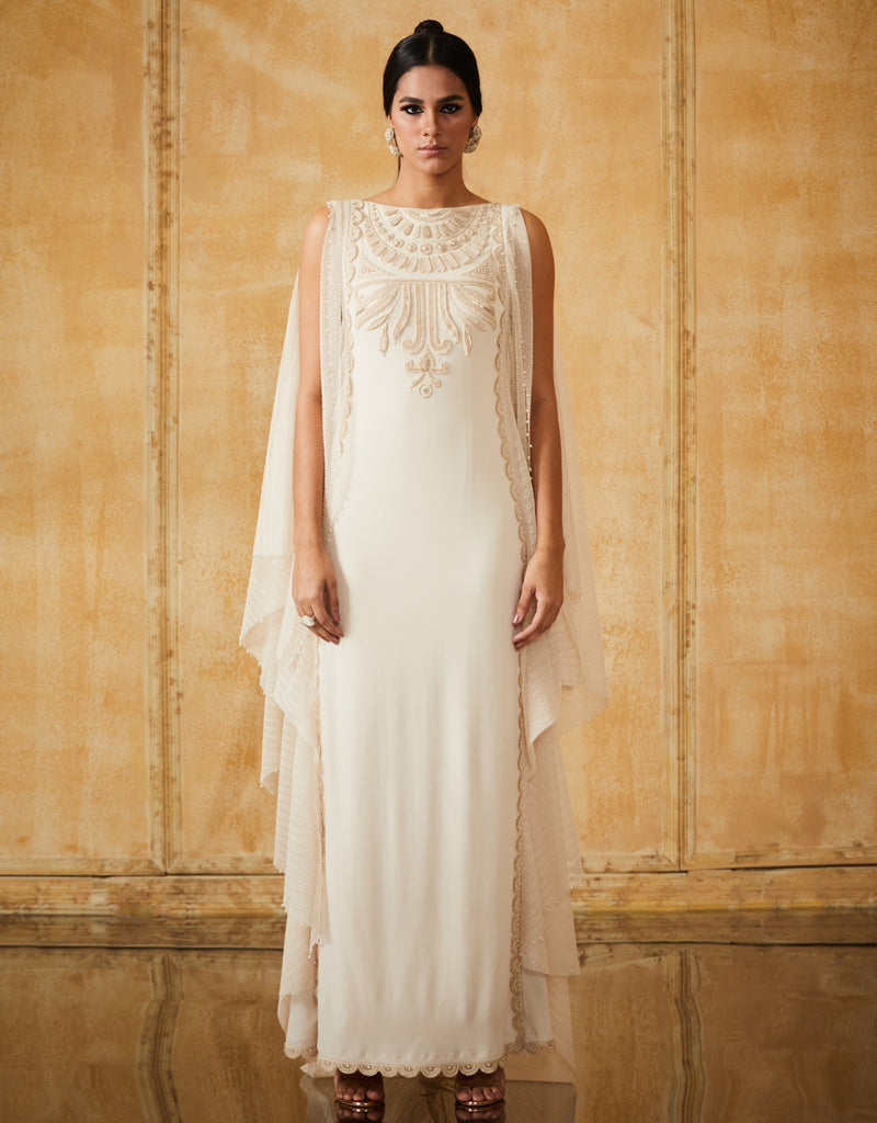 Embroidered Long Dress With Drape