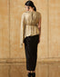 Metallic Jersey Assymetric Belted Top