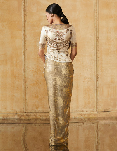 Metallic Jersey Draped Skirt