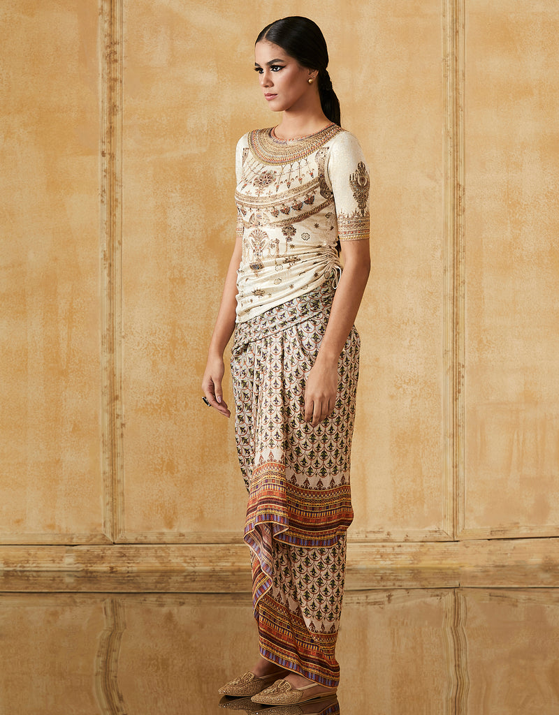 Egyptian Print Draped Skirt