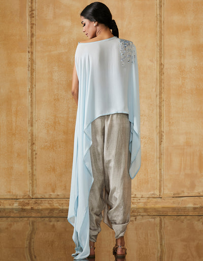 Asymmetric Silk Georgette Cape