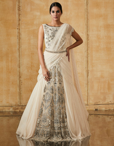 Lehenga Saree With Embroidered Bodysuit
