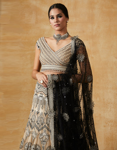 Kalidar Lehenga With A Hand Embroidered Blouse And Dupatta