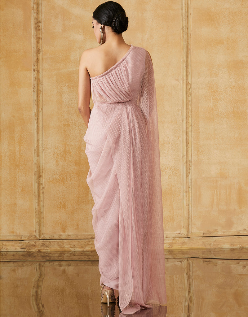 One Shouldered Crinkle Net Draped Dress