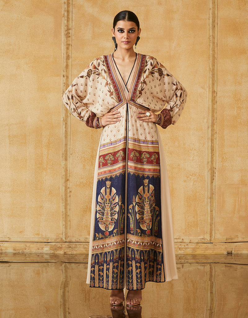 Silk Georgette Kimono Layered Dress