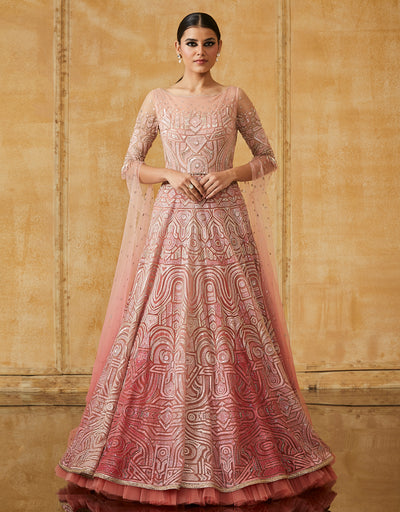 Embroidered Paneled Gown