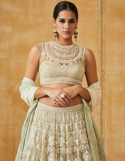 Aari Embroidered Lehenga With Blouse