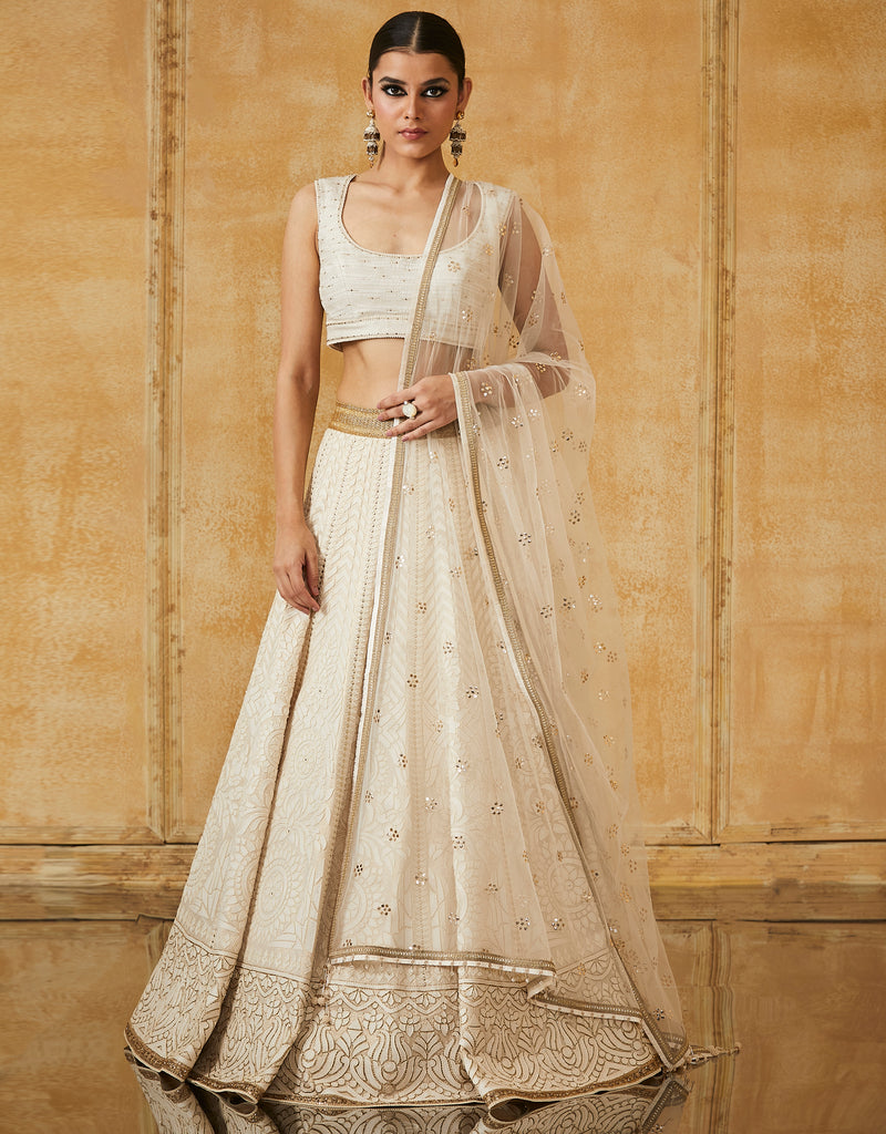Ivory Lehenga With Textured Blouse & Net Dupatta