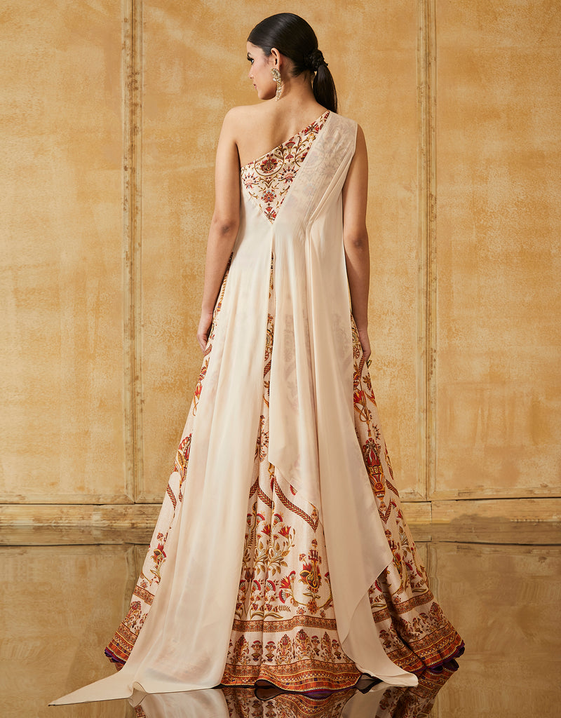 Egyptian Floral Printed Lehenga With Off Shoulder Draped Blouse
