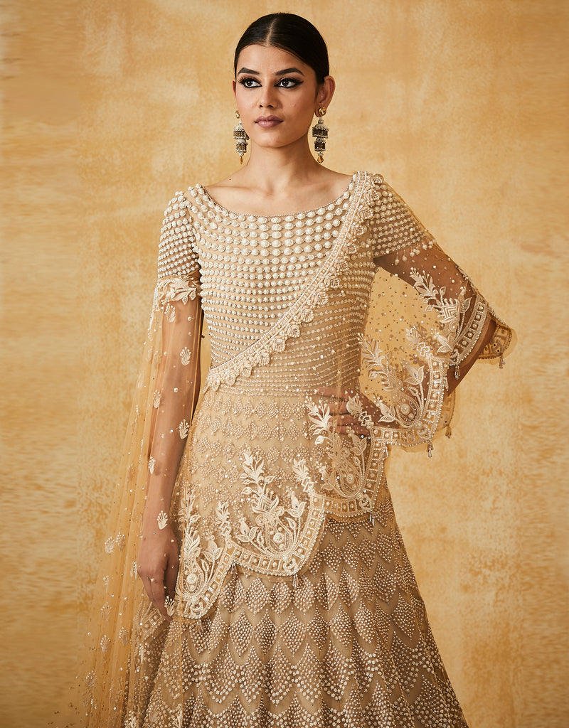 Kalidar Anarkali With An Embroidered One Shoulder Drape And Churidar