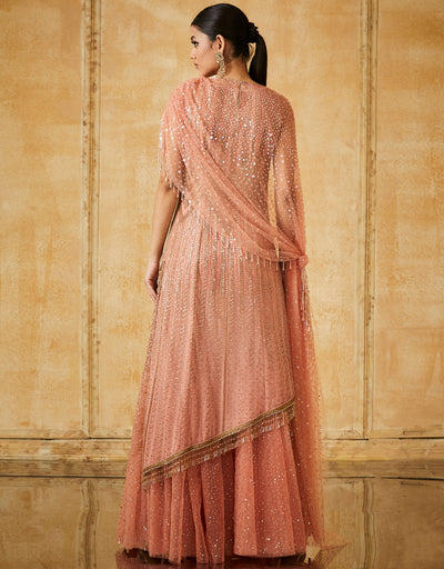 Embroidered Asymmetrical Kurti With Sharara And Dupatta