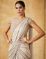 Pre-Draped Saree With Crystal Belt & A Crystallized Blouse