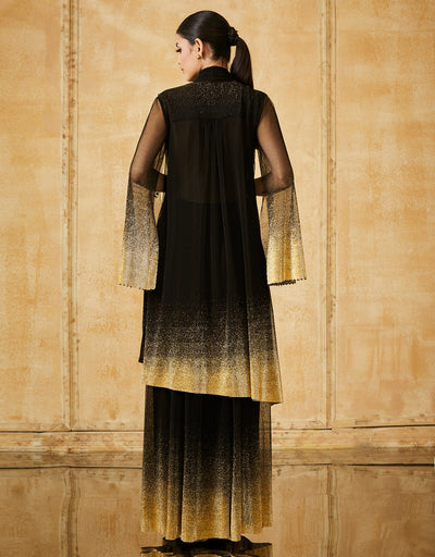 Foil Crinkle Long Kurta With Flared Pants