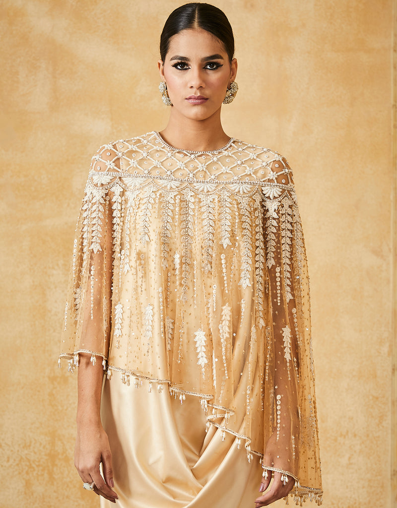 Embroidered Asymmetric Cape With Satin Drape Dress