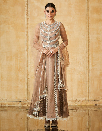 Embroidered Anarkali With Churidar Dupatta