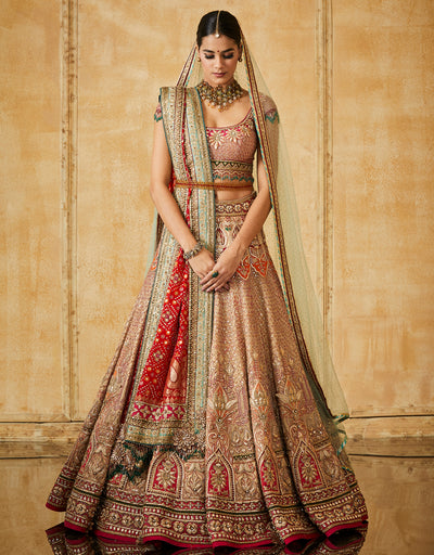 Kalidar Lehenga With A Embroidered Blouse, Dupatta & Veil