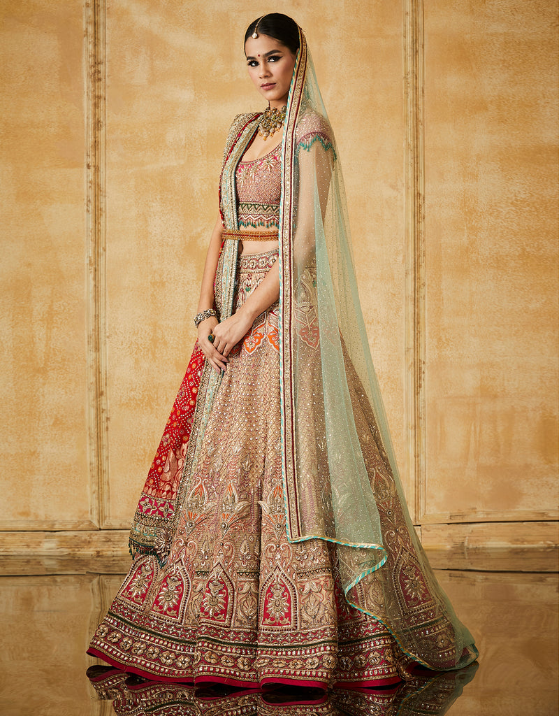 Kalidar Bridal Lehenga With A Embroidered Blouse, Dupatta & Veil