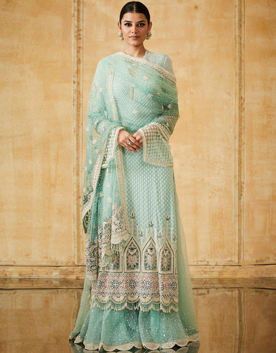Straight Kurta With Tulle Dupatta And A Sharara
