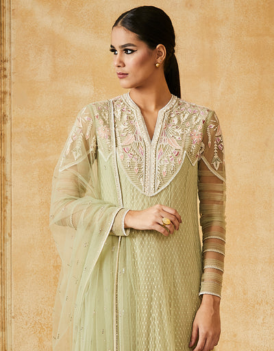Thread Embroidered Kalidar Kurta With Churidar Dupatta