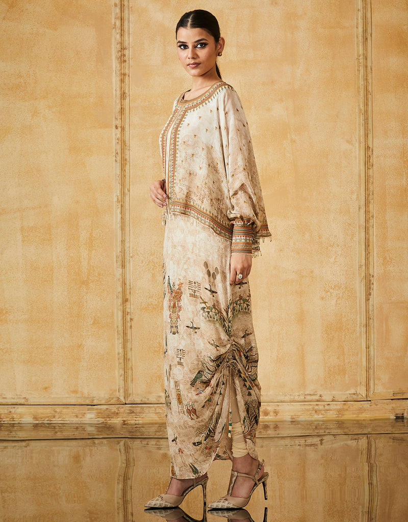 Silk Georgette Printed Long Kurta With Curidar