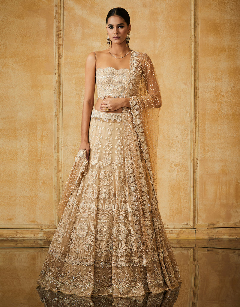 Embroidered Kalidar Lehenga With Lace Blouse & Dupatta