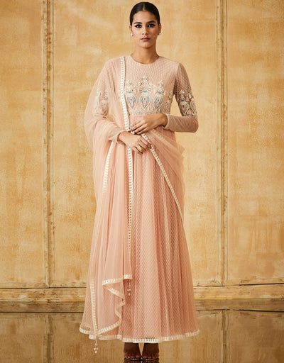 Embroidered Anarkali With Churidar And Dupatta