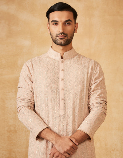 Embroidered Chikankari Kurta With Churidar