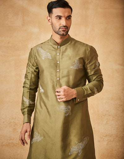Eagle Embroidered Short Kurta