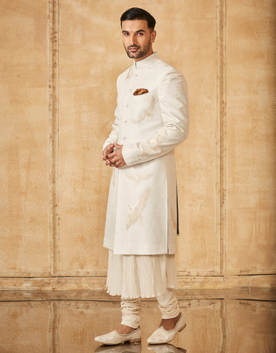 Sherwani With Crinkled Kurta & Churidar