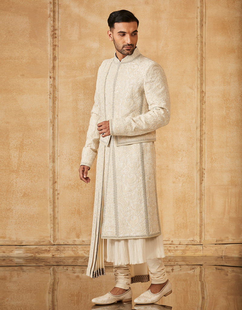 Sherwani With A Stole, Kamarbandh With Kurta, Churidar & Jutti Fabric