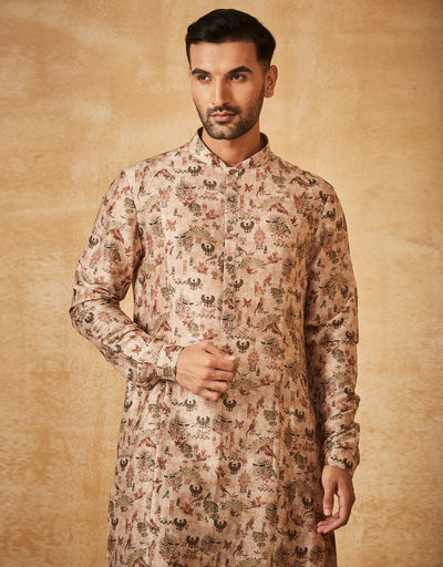 Printed Kurta With Printed Churidar