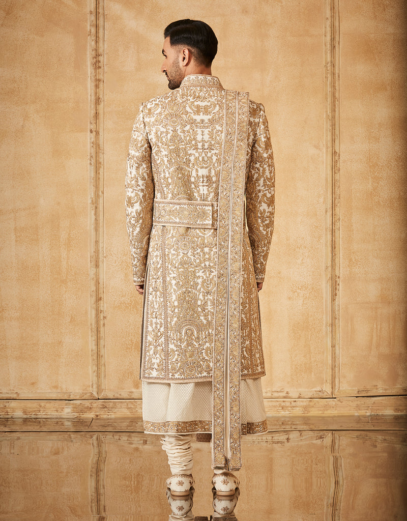 Gold Dori Embroidered Sherwani